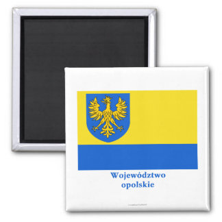 Opolskie - Opole Flagge mit Namen Quadratischer Magnet