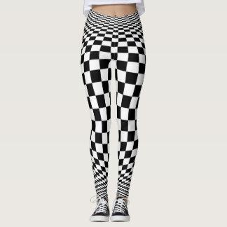 Optische Illusions-Schachbrett-Muster Leggings