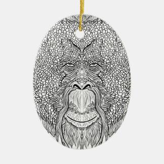 Orang-Utan Affe-T-Stück - Ovales Keramik Ornament