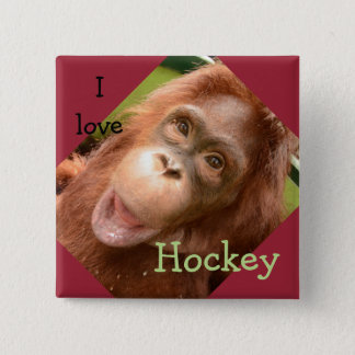 Orang-Utan Hockey in OFI Pflegezentrum Quadratischer Button 5,1 Cm