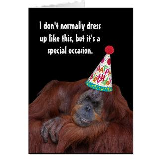 Orang-Utan Party-Hut-alles Gute zum Geburtstag Karte