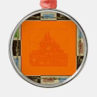 Orange 3 rundes silberfarbenes ornament