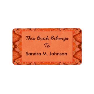 orange abstrakte Buchzeichen Adressaufkleber