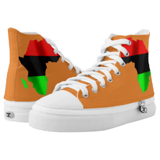 Orange afrikanische Chefschuhe durch Terrance L Hoch-geschnittene Sneaker
