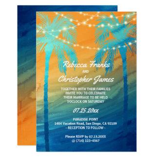 Orange aquamarine blaue tropische 12,7 x 17,8 cm einladungskarte