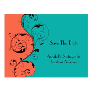 Orange aquamariner schwarzer Wirbel Save the Date Postkarte