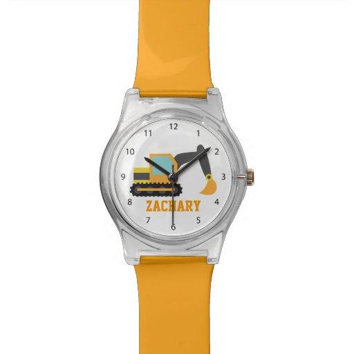 Orange Bagger, Bau-Fahrzeug, für Kinder Armbanduhr
