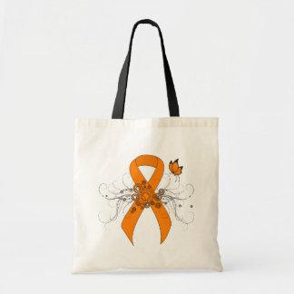 Orange Band mit Schmetterling Tragetasche