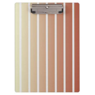 Orange beige Vintage Streifen Klemmbrett