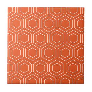 Orange Bienenwaben-geometrisches Muster Keramikfliese