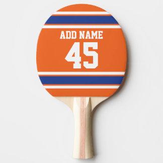 Orange Blau trägt Jersey mit Namen und Zahl zur Tischtennis Schläger