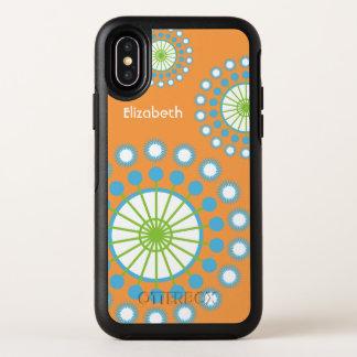 Orange, blauer, grüner Pinwheel personalisiert OtterBox Symmetry iPhone X Hülle