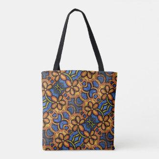 Orange blaues Blumenmuster Tasche