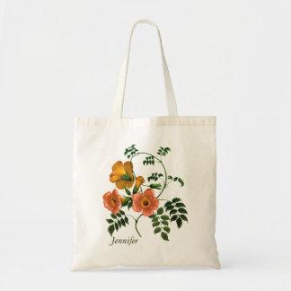 Orange Blumen-Anmut personalisiert Tragetasche