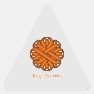 Orange Blumen-Band Dreieckiger Aufkleber