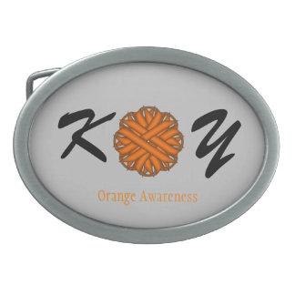 Orange Blumen-Band Ovale Gürtelschnalle