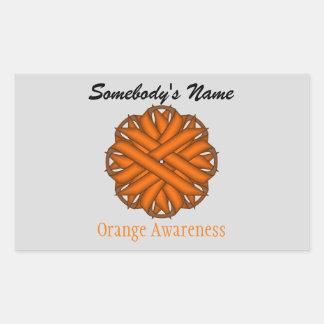 Orange Blumen-Band Rechteckiger Aufkleber