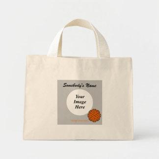 Orange Blumen-Band-Schablone Mini Stoffbeutel
