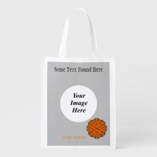 Orange Blumen-Band-Schablone Wiederverwendbare Einkaufstasche