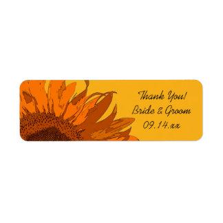 Orange Blumen-Hochzeit danken Ihnen, Umbau zu Rücksendeetikett