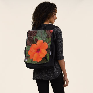 Orange Blumen-Nahaufnahme Rucksack
