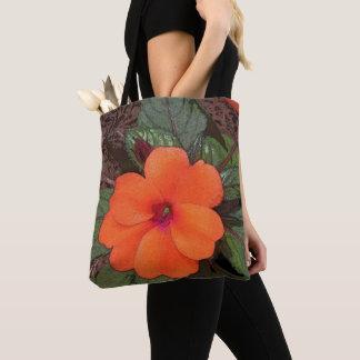 Orange Blumen-Nahaufnahme Tasche