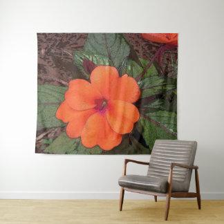 Orange Blumen-Nahaufnahme Wandteppich