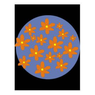 Orange Blumen Postkarte