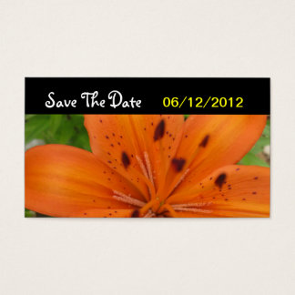 Orange Blumen-Save the Date Hochzeits-Karte Visitenkarte