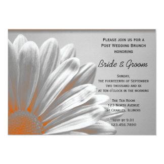 Orange Blumenhöhepunkt-Posten-Hochzeits-Brunch 12,7 X 17,8 Cm Einladungskarte