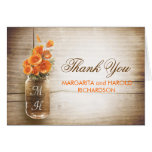 Orange Blumenmaurerglashochzeit danken Ihnen Karte