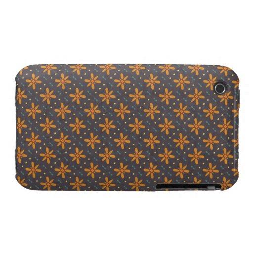 Orange Blumenmuster iPhone 3 Case-Mate Hüllen