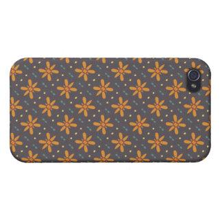 Orange Blumenmuster iPhone 4/4S Hülle