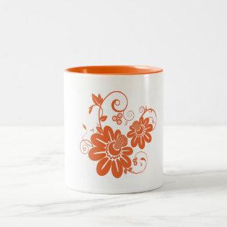 Orange Blüte Zweifarbige Tasse