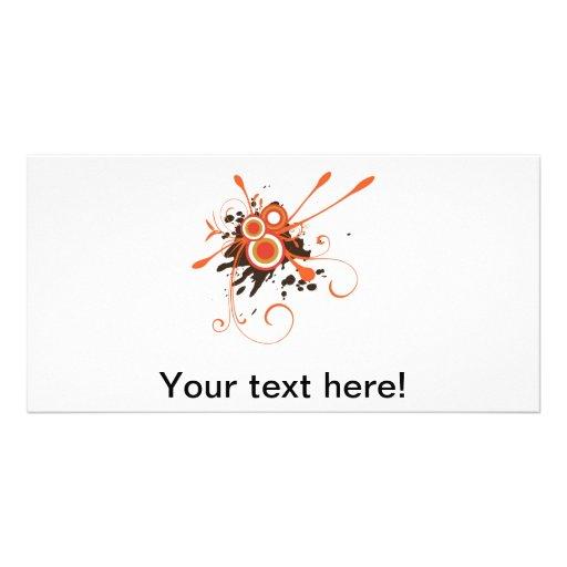 Orange brauner Vektor Personalisierte Foto Karte