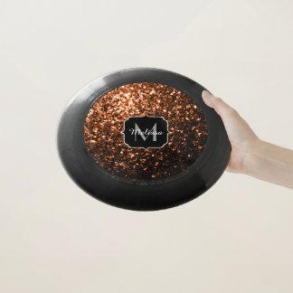 Orange Brown-Glitter-Glitzern Bronzemonogramm Wham-O Frisbee