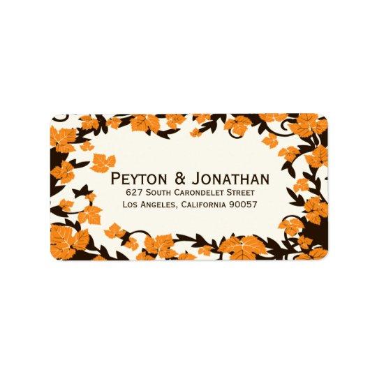 Orange Brown-Herbst verlässt Adressen-Etiketten Adress Aufkleber