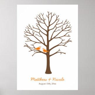 Orange Brown-Vogel-Fingerabdruck-Baum-Hochzeit Poster