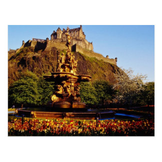 Orange Brunnen und Tulpen, Edinburgh-Schloss, Postkarte