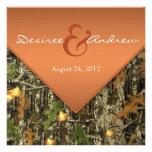 Orange Camouflage-Hochzeits-Einladungen