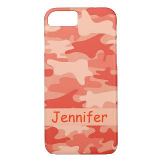 Orange Camouflage-Tarnungs-Name personalisiert iPhone 8/7 Hülle