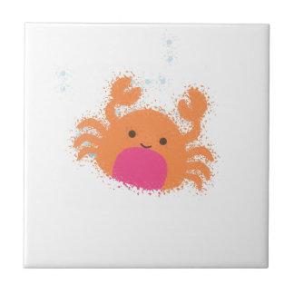 Orange Cartoon-Krabbe Fliese