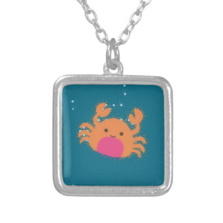 Orange Cartoon-Krabbe Versilberte Kette