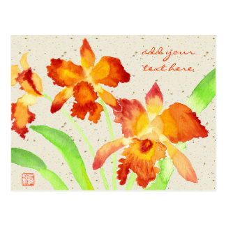 Orange Cattleya Orchideen-Aquarell-Malerei Postkarte
