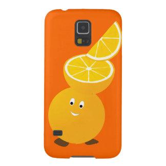 Orange Charakter, der orange Scheiben trägt Samsung S5 Hülle