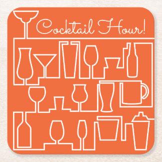 Orange Cocktail-Party Rechteckiger Pappuntersetzer