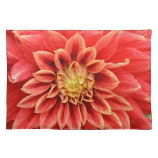 Orange Dahlie-Blume des Singles Stofftischset