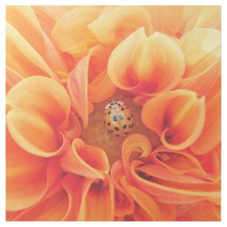 Orange Dahlie mit Marienkäfer Galerieleinwand