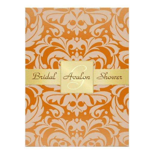 Orange Damast-Brautparty-Monogramm-Einladung
