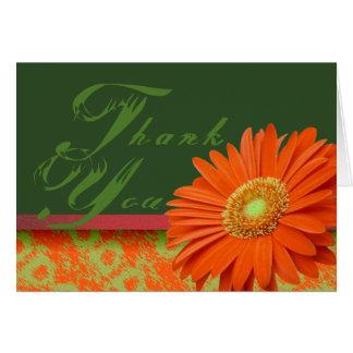 Orange danken Gerbera-Gänseblümchen gedämpfte Karte